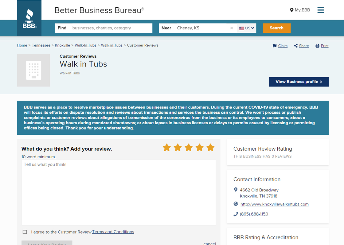 Knoxville Walk-in Tubs Reviews BBB